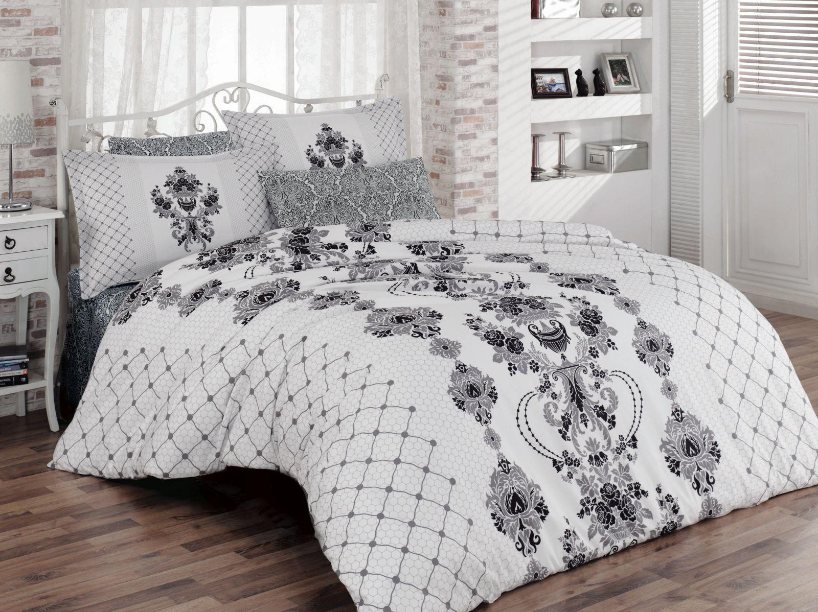 Bettwäsche 220x240 cm Bettgarnitur Bettbezug Baumwolle Kissen 6 tlg VINTAGE GRAU