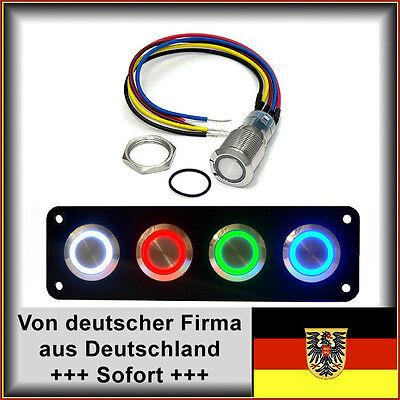18mm Drucktaster LED rot als Schalter Edelstahl Wasserdicht IP67