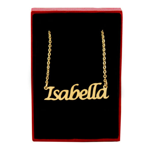 Isabella Name Necklace Stainless Steel// 18ct Gold PlatedValentines Day