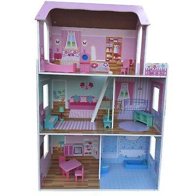 XXL Barbiehaus Puppenhaus Villa Puppenstube mit Möbel Dollhouse Haus NEU