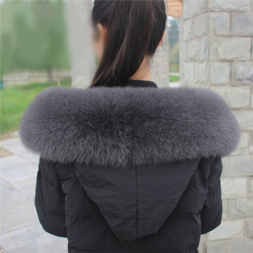 100/%Real Vulpes lagopus Fox Fur Collar Wrap ShawlDown Jacket Hood Trimming Scarf