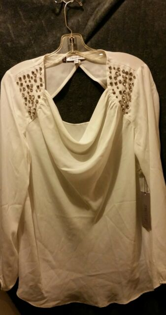 Women S Jennifer Lopez Blouse Ivory Color W Embellished Neck Area