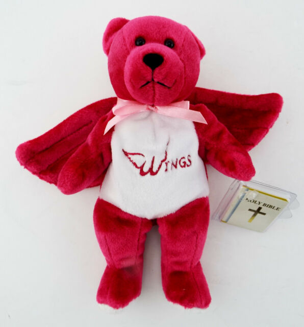 NWT WINGS HOLY BEAR Pink Plush Bean Bag w/ Bible & Breat Cancer Ribbon Embroider