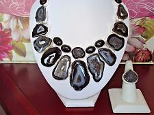 AB Black White Solar Quartz Druzy/Drusy Bib Collar Statement Necklace Silver 20""