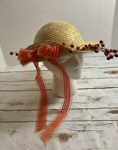 Straw-Hat-Bows-And-Berries-Church-Derby-Hat