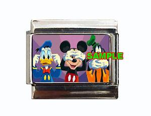 Disney-DONALD-MICKEY-GOOFY-Hear-Speak-See-No-Evil-Custom-Italian-Charm