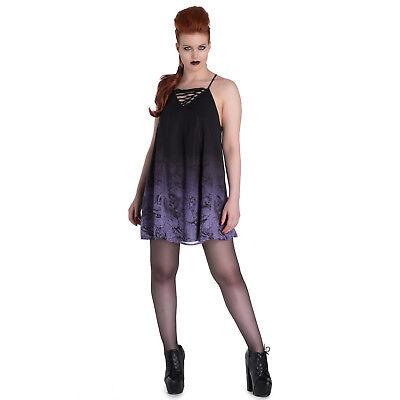 Hell Bunny Vampirina Black White Striped Purple Vampire Bat Goth TShirt Top