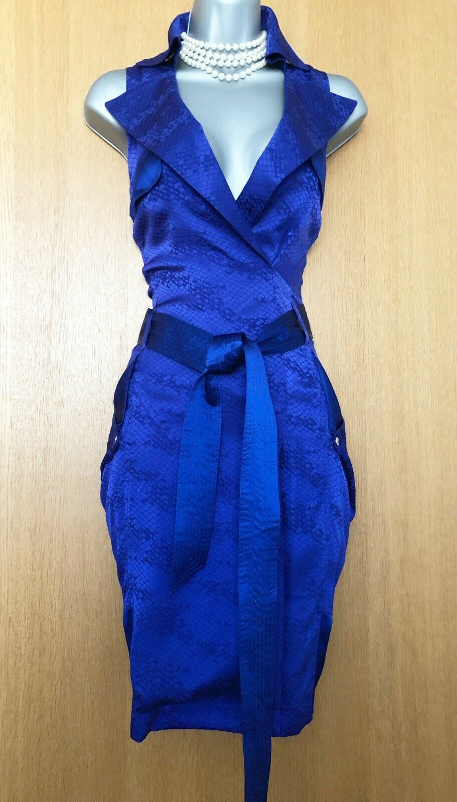 Karen Millen Millen Millen UK 12 lila Snake Print Silk Trench Style Formal Casual Dress EU40   Neues Produkt    New Style  615e20