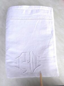 (1) Ancien Drap En Lin Blanc Brode Mains Jour Monogramme 2 M X 310 ImperméAble à L'Eau, RéSistant Aux Chocs Et AntimagnéTique