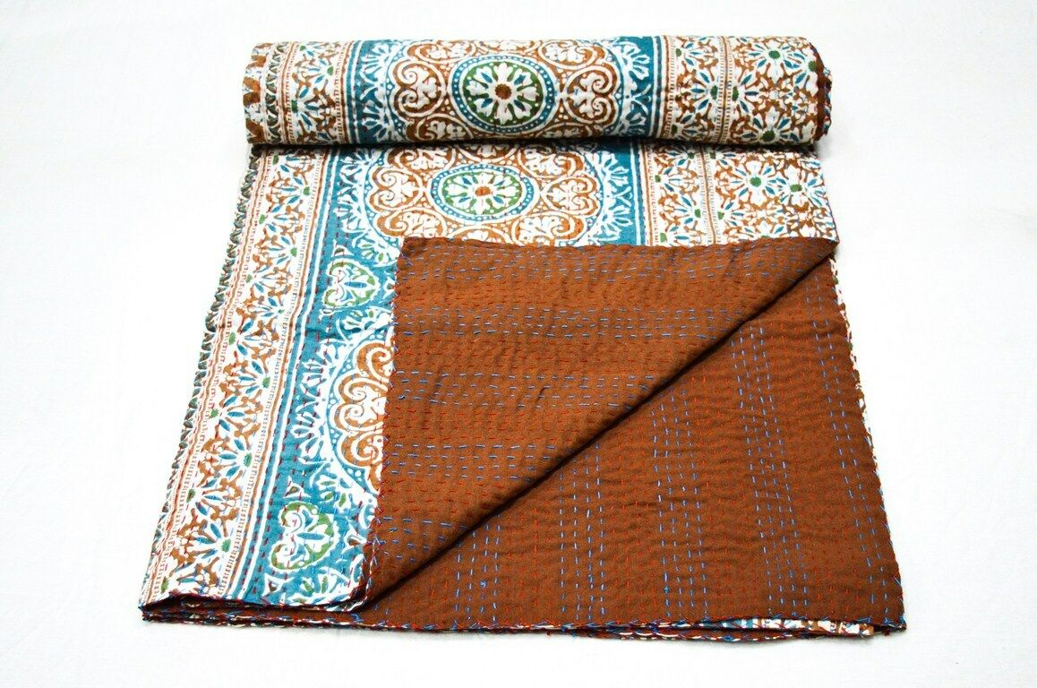 Indian Handmade Queen Cotton Kantha Quilt Throw Suzani Print Double Bedspread
