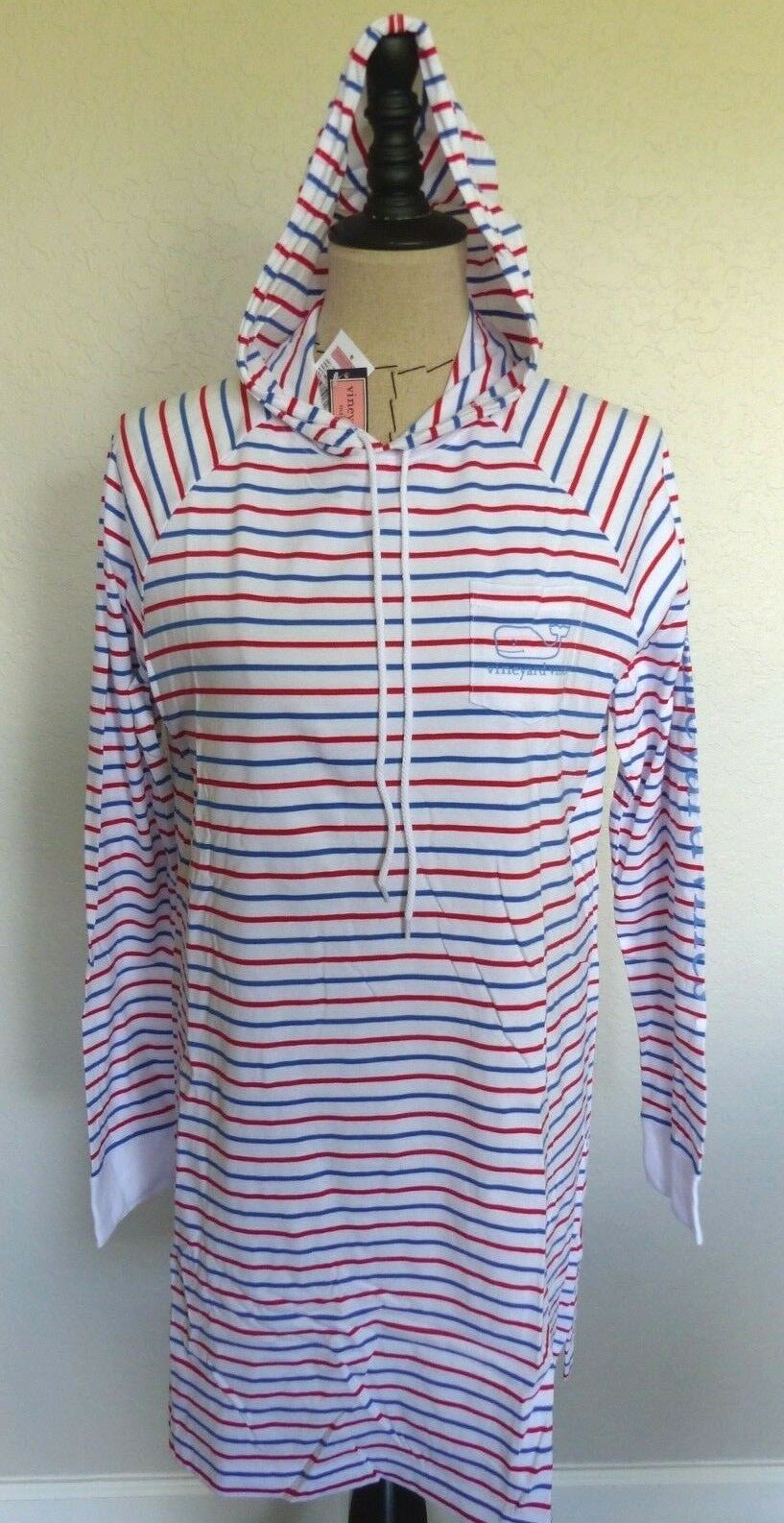 VINEYARD VINES Women's Long Sleeve Hoodie Graphic Tee Striped DRESS  Size LG NWT