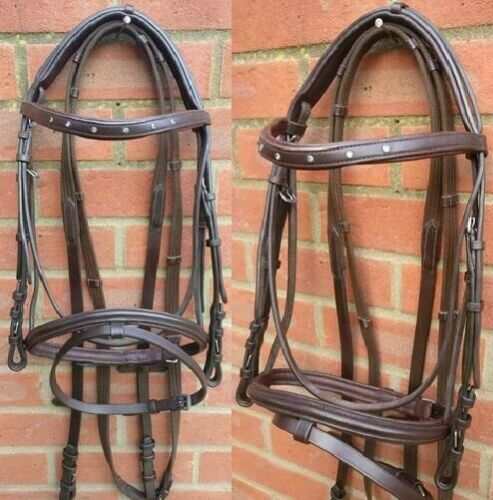 Leather Snaffle Cavesson Horse Riding Bridle with Reins Havana FULL COB