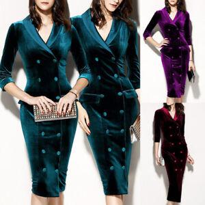 Winter-Womens-Velvet-Bodycon-Dress-Long-Sleeve-Sexy-V-Neck-Party-OL-Midi-Dress