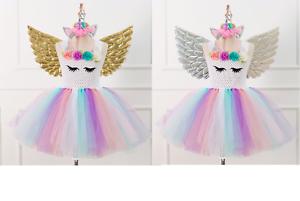 Flower Girls Unicorn Tutu Dress Princess Girls Birthday Party Fancy Dress