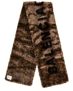 1290-BALENCIAGA-brown-faux-fake-fur-leopard-shawl-scarf-authentic-NWT