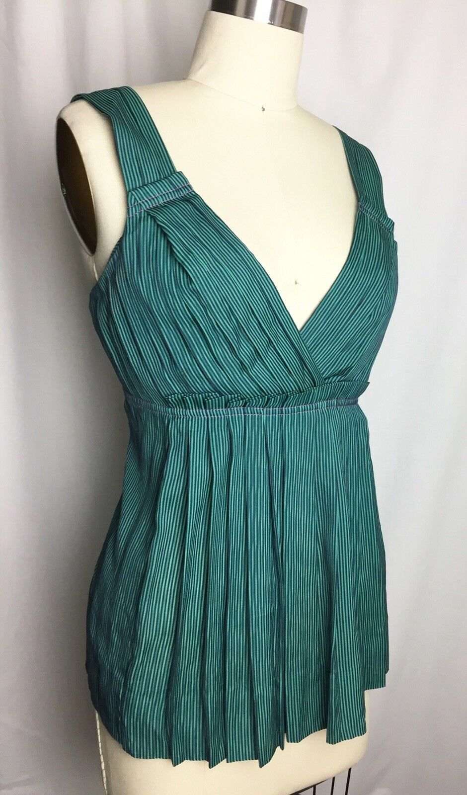 Marc MARC JACOBS SILK Green Navy Striped Pleated Blouse Top Shirt Small
