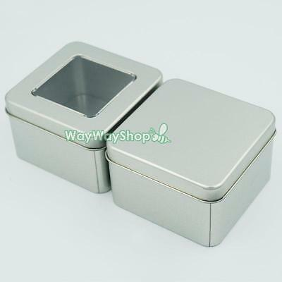 Tinplate Iron Tin Storage Spice Case Container Small Box Clear View Tins square
