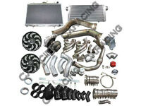 Gt45 Turbo Intercooler Piping Kit 3.5downpipe Mani. Radiator For S13,s14,lsx-bk