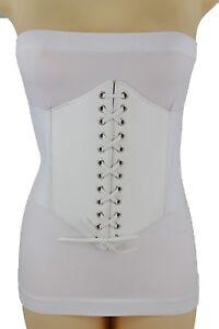 b5a8cd27baf3 Nouveau Femme Sexy Tendance Blanc Simili Cuir Large Taille Haute ...