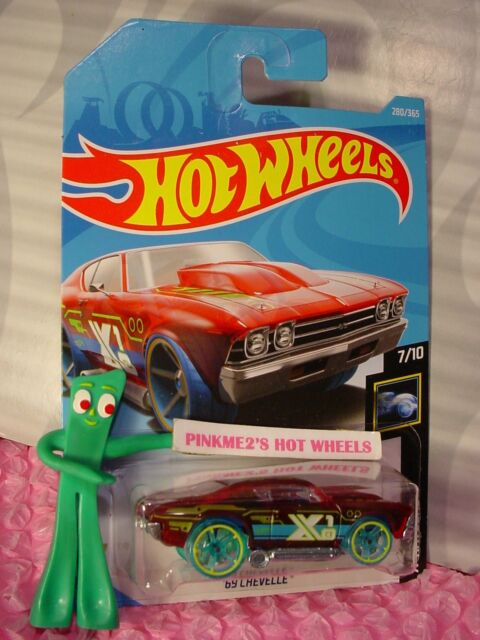 69 CHEVELLE #280✰Red/oh5 blue✰Track Star✰X-RAYCERS✰2018 i Hot Wheels WW case M/N