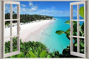 Huge-3D-Window-view-Exotic-Ocean-Beach-Wall-Sticker-Film-Decal-339