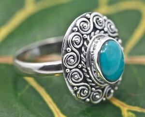 Handmade-Sterling-Silver-925-Bali-Round-Swirl-Solitaire-Turquoise-Ring-7-8-9