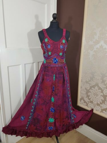 Maxi Medieval Renaissance Costume Boho Jacket Style Sequin Dress 14 16 18 20