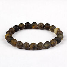 Genuine Baltic Amber Adult Stretch Bracelet Green Color Round Raw Unpolished Beads Men