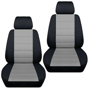 Fits-2003-2008-Mazda-3-front-set-car-seat-covers-black-and-silver