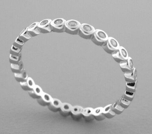 NEW STERLING SILVER CZ FULL ETERNITY WEDDING BAND RING SIZE 5 ROUND CUT STACK