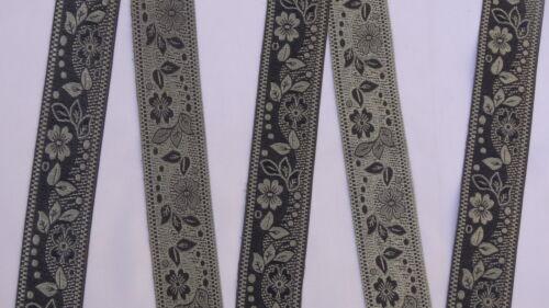 "4 Yd Jacquard Trim 1.50/"" wide Woven Border Sew Ribbon T738"