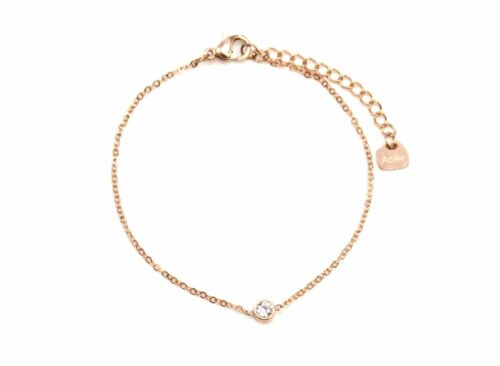Bracelet Fine Chaîne avec Charm Strass Contour Acier Or Rose BC2378F