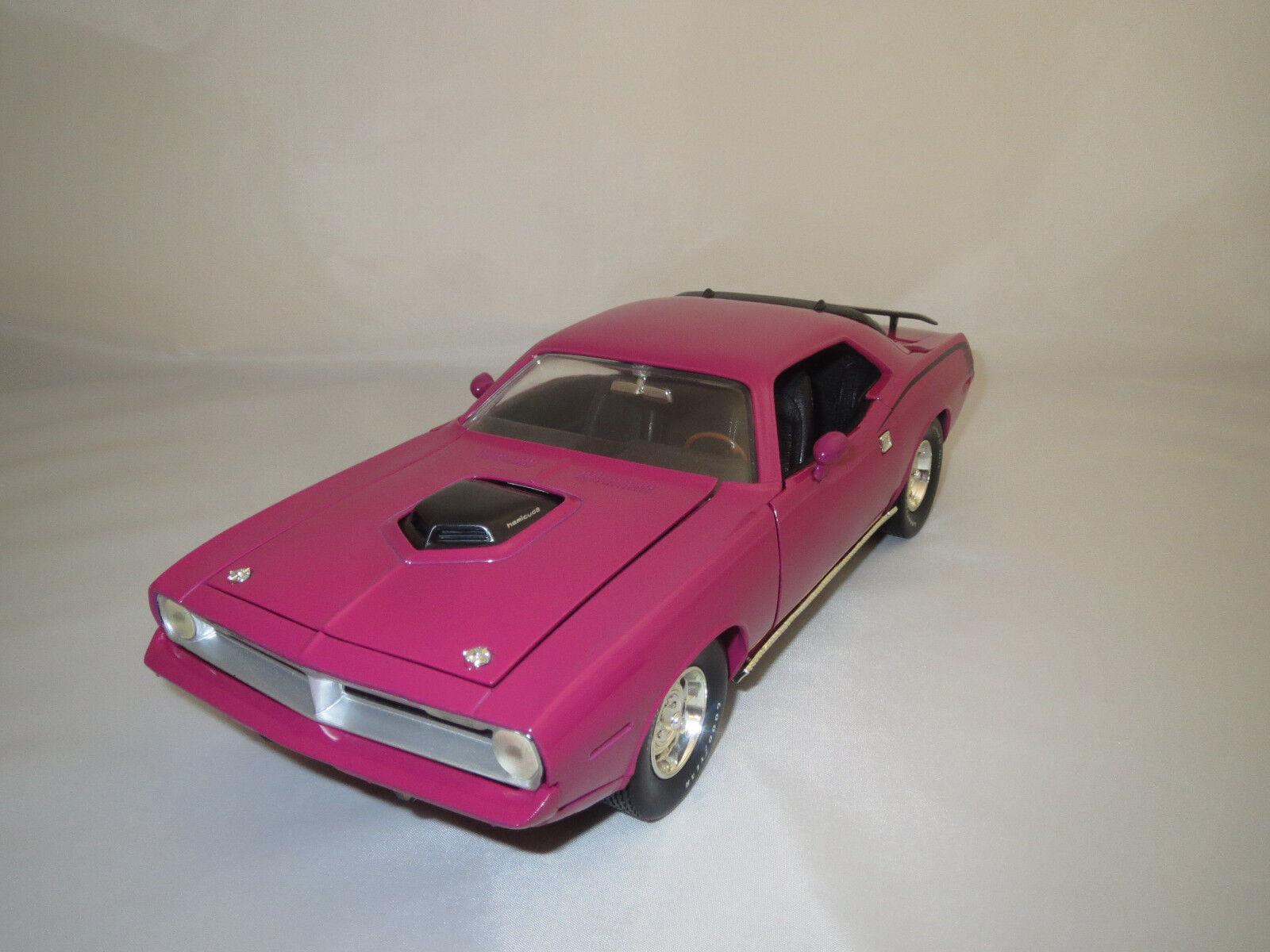 ERTL American Muscle Plymouth HEMI Cuda  1970  (rosado) 1 18 senza imballaggio