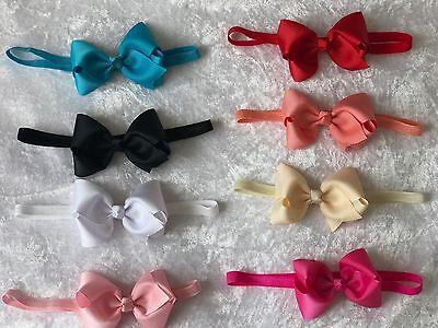 Baby Girls Small Tiny Bow 6cm Headband Skinny Elastic Band Hair Accessories Lot