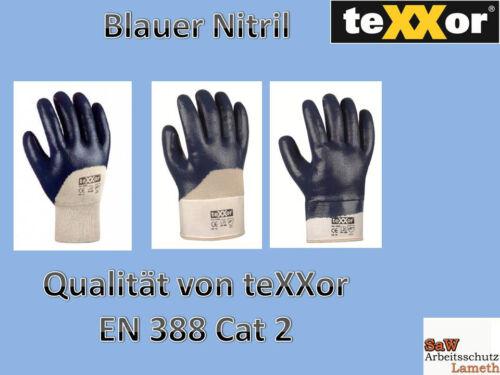 // vollbesch. teXXor Nitril Blau Arbeitshandschuhe Schutzhandschuhe teilbesch