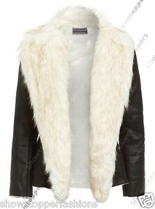NEW-Faux-Fur-BIKER-JACKET-Womens-FAUX-LEATHER-Coat-Ladies-Size-8-10-12-14-16