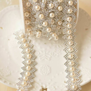 Pearl-Rhinestone-Trims-Crystal-Diamante-Sash-Chain-Bridal-Dress-Belt