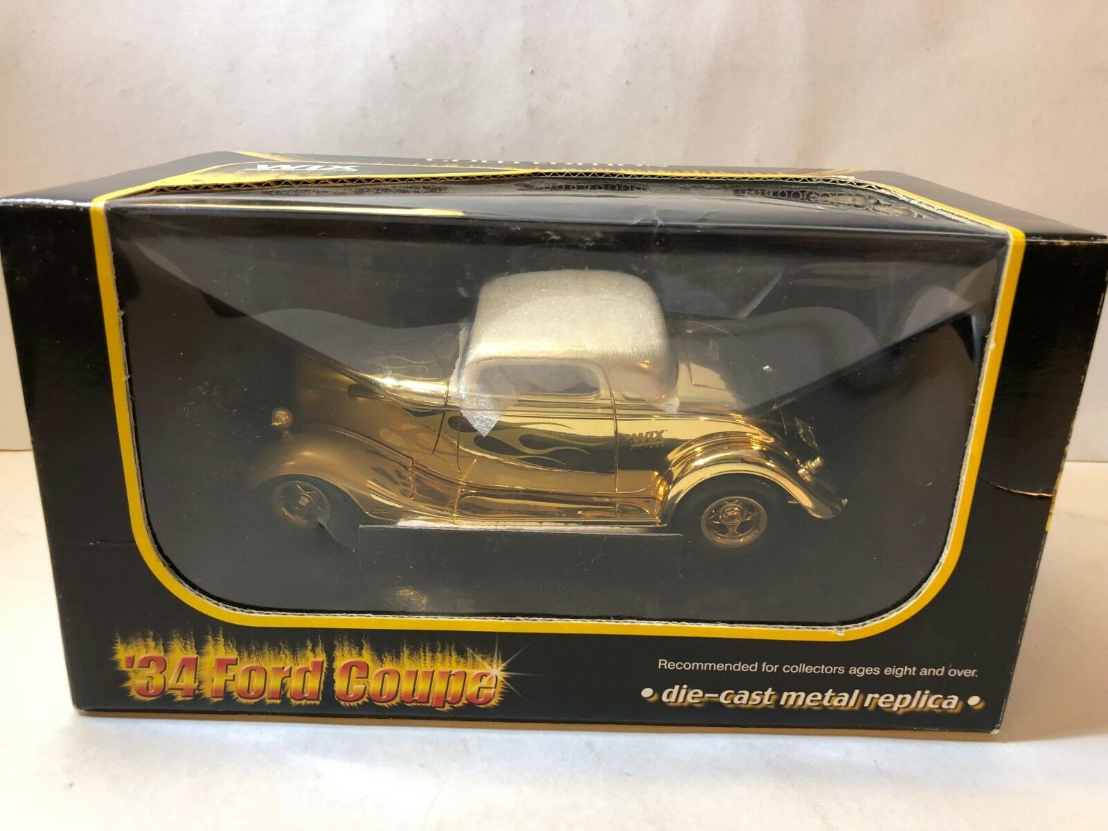 24 Karat gold Plating '34 Ford Coupe Wix Filters Die-Cast Metal Replica Car 1 25