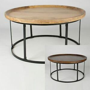 Details About Round Coffee Table With Steel Frame Support 100 Solid Mango Hardwood
