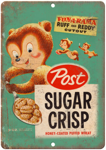"Post Sugar Crisp Cereal Box Art 10/"" X 7/"" Reproduction Metal Sign N98"