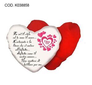 Cuscino a forma di cuore con scritta poesia i love you - Jovanotti affacciati alla finestra amore mio ...