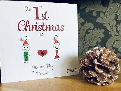 Personalised Handmade /'Mr /& Mrs 1st Christmas/' Card