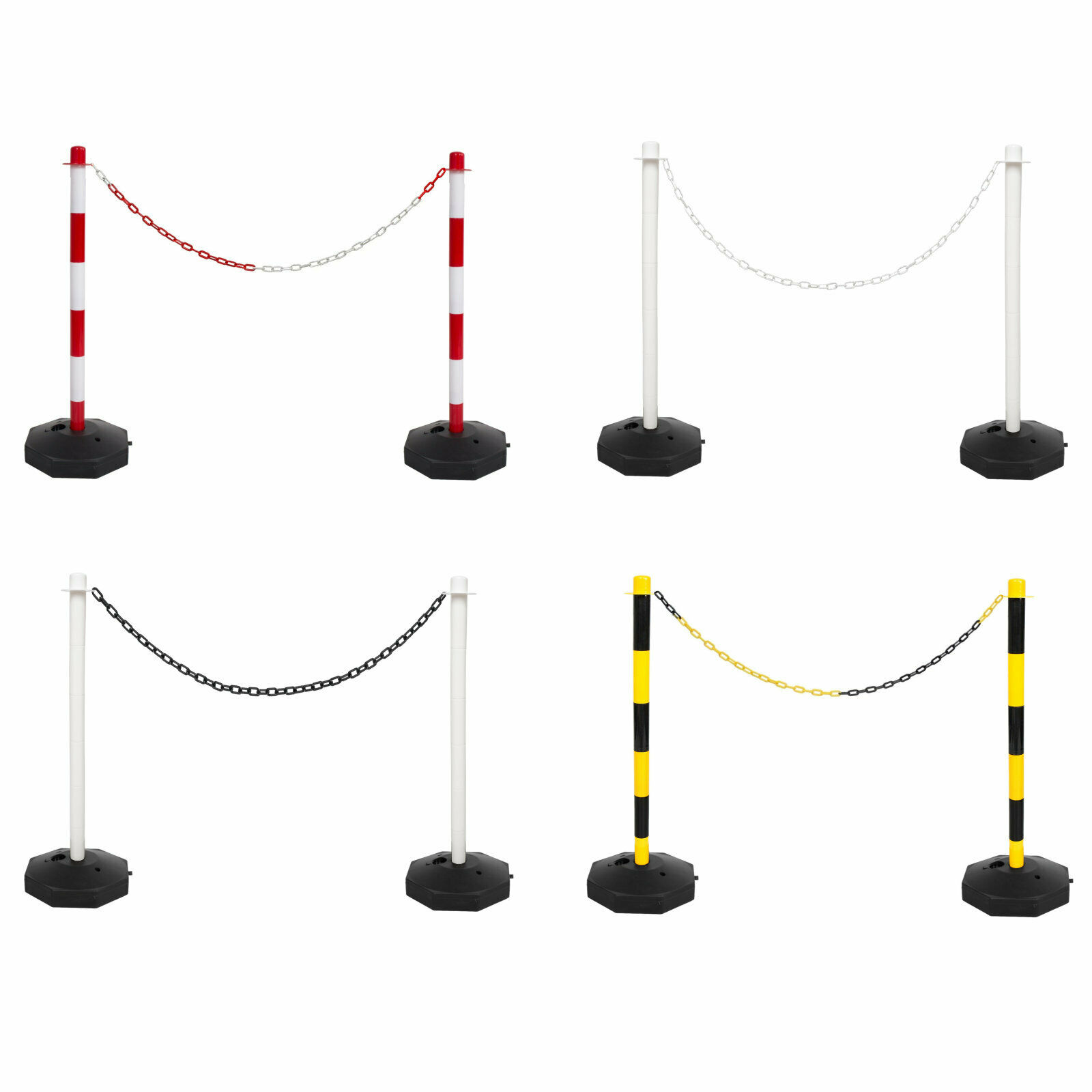 2 Post Base & 5m Plastic Chain Fence Kit Crowd Queue Safety Barrier Security