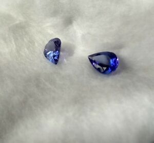 PAIR-1-2ctw-certified-TANZANITE-natural-loose-pear-gem-Blue-for-EARRINGS-5x7x3mm
