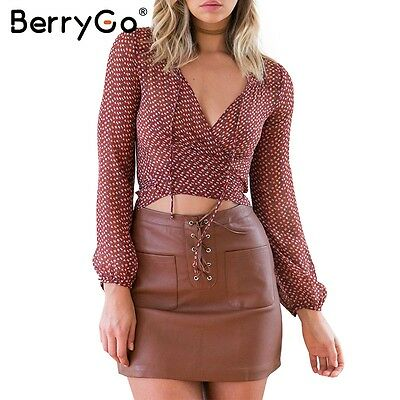 BerryGo Boho Floral Print Chiffon Blouse Shirt Summer Beach Deep V-Neck Crop Top