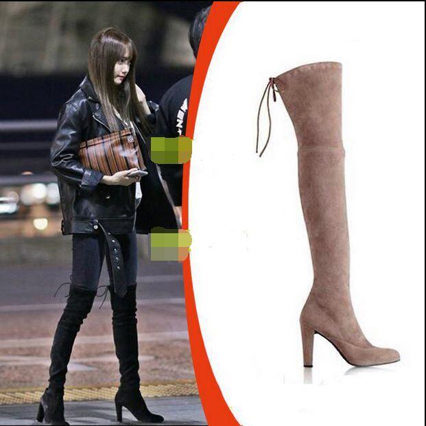 kvinnor Faux mocka Pointed Toe Over Knee Knee Knee stövlar Long Tube elegant High klackar Skor  bästa rykte