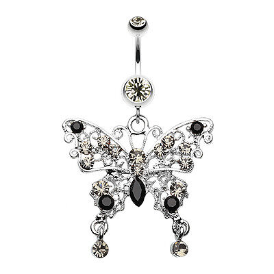 Glam Butterfly Fall Fancy Belly Button Ring - Sold Individually 1.6mm 14 GA