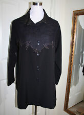 Artsy XIAO Asymmetrical Blouse Jacket NWT S Orig. $210 Brown / Black Overshirt
