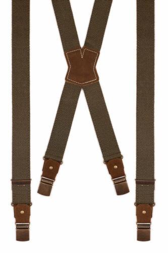 Herren Hosenträger Trachten Hosen Träger X-Form Simple-Dunkel oliv Leinen Leder