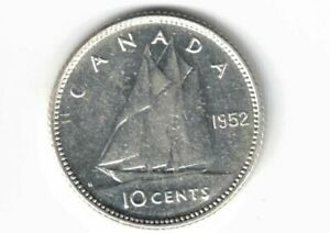 CANADA-1952-TEN-CENTS-DIME-KING-GEORGE-VI-800-SILVER-COIN-CANADIAN